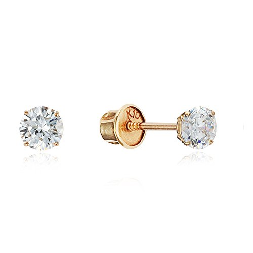 10k Yellow Gold 3mm Basket Round CZ Cubic Zirconia Solitaire Children Screw Back Baby Girls (Baby Yellow Earrings)