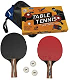 Rivon Table Tennis Paddle - Ping Pong Racket Set - 2 Paddles with 3 Balls and Travel Case - ITTF...