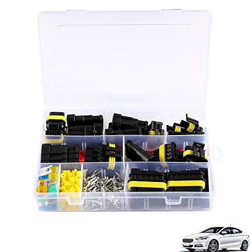 240Pcs Electrical Wire Connector Kit,1-6 Pin Car Motorcycle Waterproof Electrical Wire Connector Automotive Terminals Kit Male Female Plug Blade Fuses: