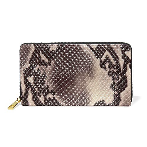 Genuine Leather Women's Zip Around Wallet Purse Clutch Snake Skin Illustion Printed for Girl Card Holder Handbag