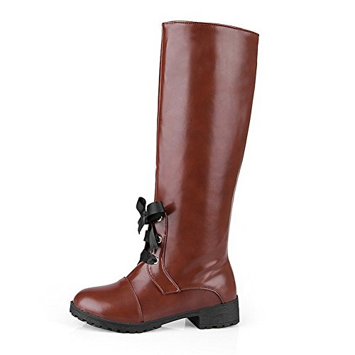Material Closed Soft Heels High Low Allhqfashion Round Boots Toe Brown Solid Top Women's qnICCUwE