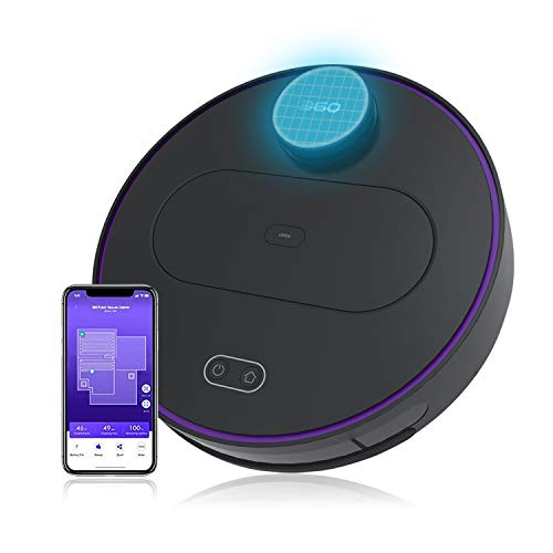 360 Robot Vacuum and Mop Cleaner, Works with Alexa, Intelligent Cleaning with 1800Pa Super Power Suction, Laser Navigating, Multi-Map Management, Up to 110Min for Pet Hair, Carpet and Hard Floor BLACK (Robot Hair Accessories)