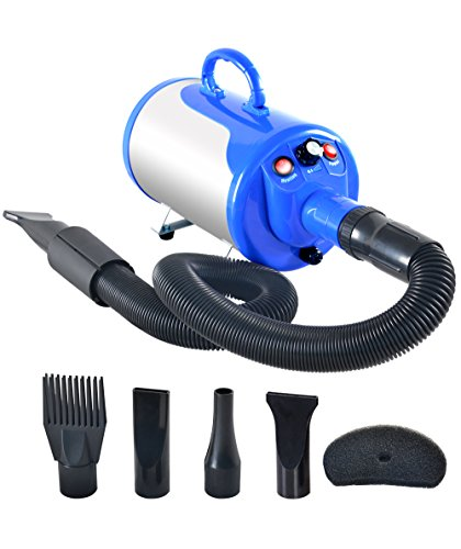 SHELANDY 3.2HP Stepless Adjustable Speed Pet Hair Force Dryer Dog Grooming Blower with Heater(Blue) (3 Temperatures 3 Speed Hair Dryer)