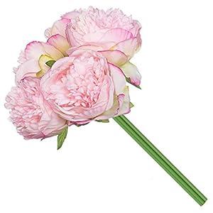 Royal Imports Peony Flowers Vintage Artificial Silk 5 Single Stems for Bouquet, Home Decoration, Wedding Centerpiece, Wreaths, Floral Arrangements 102