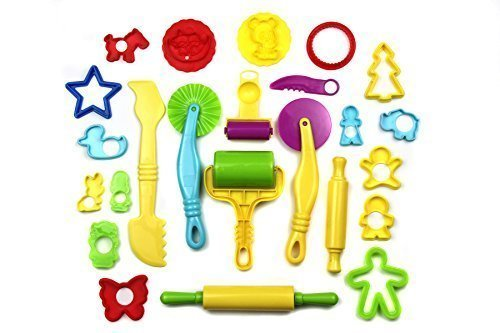 24 Piece Tool (Strokes Art Durable Clay and Dough Tools 24 Piece Set Animal Shapes - Create Hours Of Creativity - Ages 3 & Up)