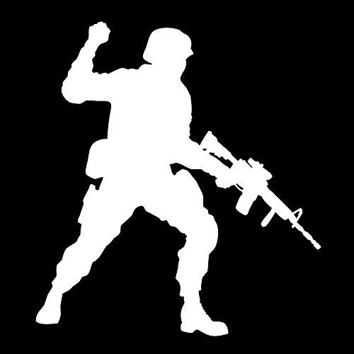 Auto Vynamics - MILITARY-SOLDIER06-3-MWHI - Matte White Vinyl Military Soldier Silhouette Decal - Standing w/ Gun 02 Design (Hand Motioning) - 2.75-by-3-inches - (1) Piece Kit - Single Decal