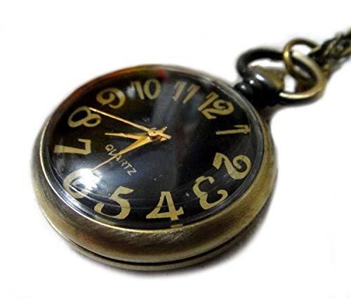 Alice in Wonderland Pocket Watch Necklace - Vintage Style Alice Backwards Clock Pendant - Pocket Watch -