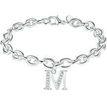 WIBERN Silver Tone Zircon Stone 26 Letters Alphabet Personalized Charm Link Bracelet for Women