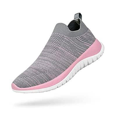 Troadlop Women's Walking Sock Shoes Lightweight Mesh Slip-on- Breathable Running Athletic Sneakers Grey Pink 6