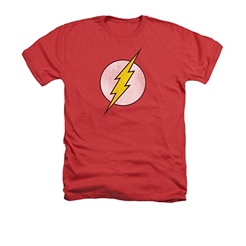 DC Comics Flash Logo Distressed Men's Heather T-Shirt XX-Large Red