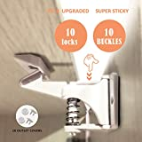 Toopify Baby Safe Cabinet Locks Child Safety Drawers Latches, Invisible Design, Easy Install No Tool No Key Needed (10 Pack)