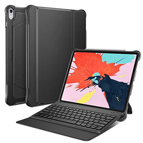 OMOTON Detachable Keyboard Case for iPad Pro 12.9 2018 (Not fit for 2015&2017 Version), Ultra-Thin Bluetooth Keyboard Case with Built-in Stand and Pencil Slot (Support Apple Pen 2nd Charging), ()