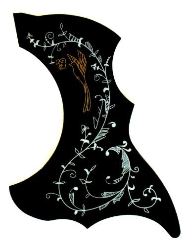 YMC Picguard-Acoustic-BK-Hummingbird Acoustic Guitar Pickguard, Self Adhesive, Black mLaval
