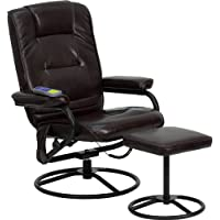 Flash Furniture Massaging Brown Leather Recliner and Ottoman with Metal Bases