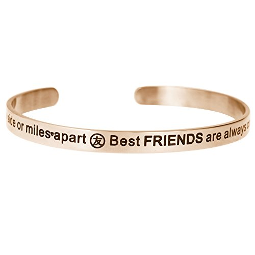 Qina C. Side By Side Or Miles Apart. Best Friends Are Always Connected By Heart Adjustable Cuff Bracelet Wristband Bangle Christmas Wishes Quotes For Best Friends