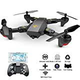 Cheap Hip Mall FPV RC Drone with 720P HD 2MP 120° Wide-Angle Camera Live Video Foldable RC Quadcopter Altitude Hold, Headless Mode,Gravity Sensor, One Key Return, 3D Flips Rolls, APP Control Drones