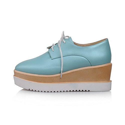 AllhqFashion Mujer Tacón alto Cordón Plataforma PU Puntera Cuadrada ZapatosdeTacón Azul