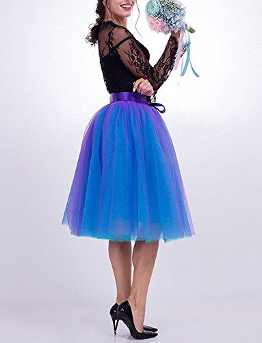 1950s Petticoat blau Unterrock Izanoy Röcke 6 Tutu Mit Knielang Gürtel Lila Tüll Layer Damen