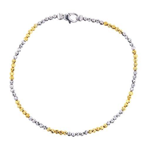Officina Bernardi Sterling Silver and Yellow Anklet, 10'' by Officina Bernardi