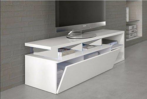 HABITMOBEL Mesa de TV Moderna, Mueble Salon, Color Blanco Brillo y ...