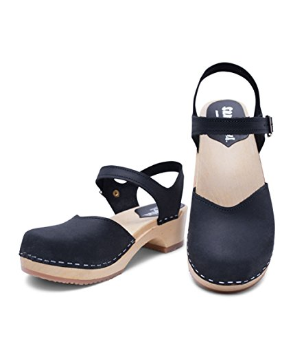 Image of Sandgrens Swedish Wooden Low Heel Clog Sandals for Women | Saragasso
