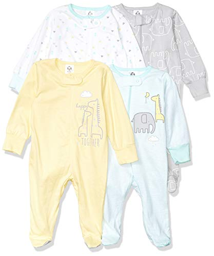 Gerber unisex-baby 4 Pack Sleep 'N Play Footie
