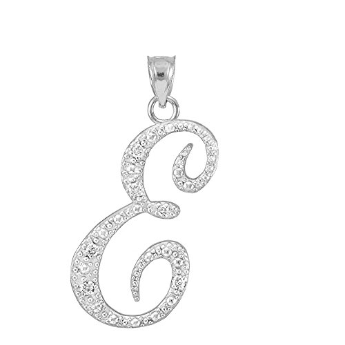 (925 Sterling Silver CZ Script Initial Letter E Charm Pendant with CZ)