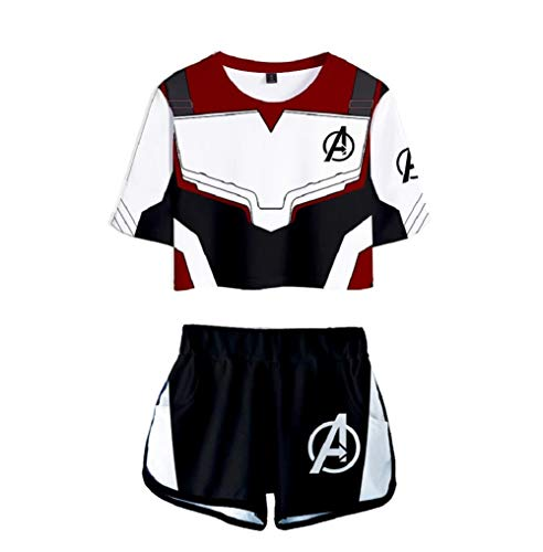 Superhero 3D Print Outfits Short Sleeve Crop Tops and Shorts Set Tracksuit Sports Suit -