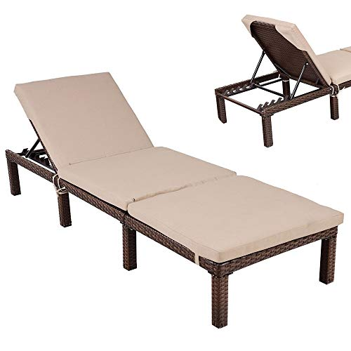 DUSTNIE Outdoor Patio Chaise Lounge Chair - Outside Furniture Garden Recliner Sunbathing Tanning Reading Bed Pool Yard Deck Sun Rattan Wicker Lounger Chairs W/Cushions - 4 Reclining Positions