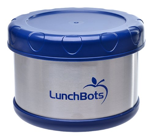 LunchBots Thermal 16 oz. All Stainless Steel Interior - Insulated Food Container Stays Warm for  up to 5 Hours or Cold for 10 Hours - Leak Proof Soup Jar for Portable Convenience - Blue