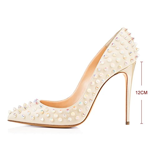 free shipping largest supplier buy cheap 100% authentic onlymaker Women`s Fashion Pointed Toe High Heels Pumps Rivet Studded Stiletto Sandals For Wedding Party Dress Beige cheap sale 2015 with credit card sale online W4KjL