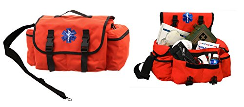 Ultimate Arms Gear Deluxe Heavy Duty Bright High Visibility Orange EMS/EMT Emergency Medical Paramedic Rescue Supplies Gear Pack Trauma Equipment First Aid Kit Carry Rescue Shoulder Bag by Ultimate Arms Gear