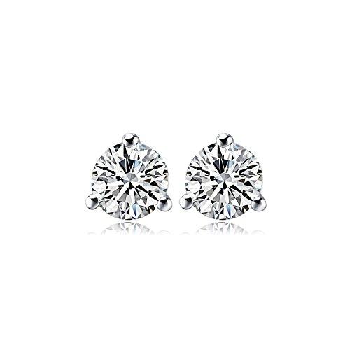 SeeAllitemsByAMITRAJPUT Gold/Platinum Metal Zirconia Studded Solitaire Earrings Danglers Studs White Crystals Plated for Women