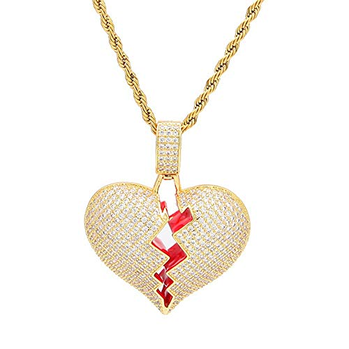 Gold Plated Hip Hop Chain - AOVR Hip Hop Twist Chain 18k Gold Plated CZ Fully Iced-Out Broken Heart Pendant (Gold)