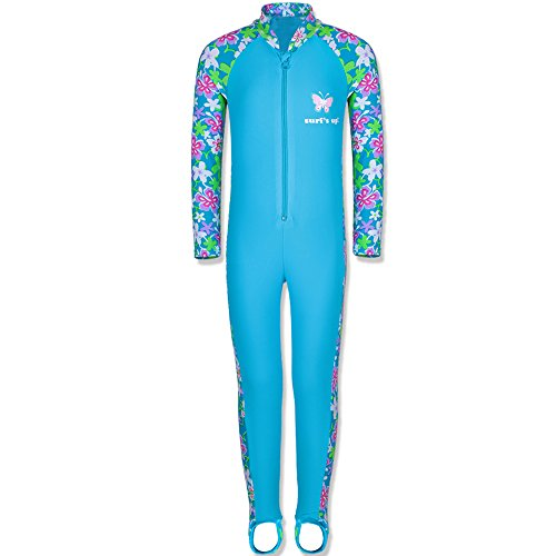 TFJH E 1PCS Girls Long Sleeve Swimsuit UPF 50+ Rashguard 5-6Years Blue - Swimwear Sale Training