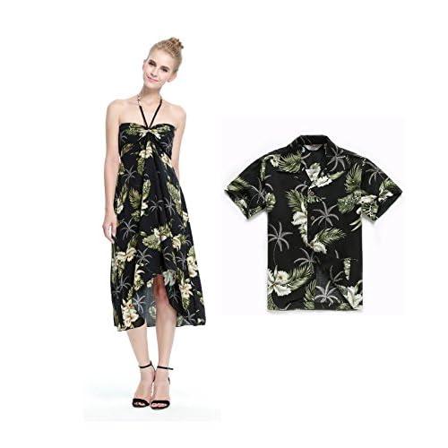 34dc68b83 Hawaii Hangover Matching Mother Son Hawaiian Luau Outfit Dress Shirt In  Palm Green Pattern