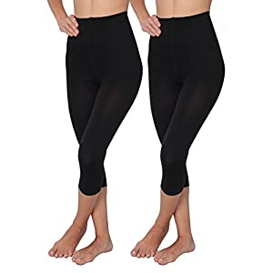 Hanes 1 & 2 Pack Shaping Slims Waist Capri Black Plus Size (Large, 2 Black)