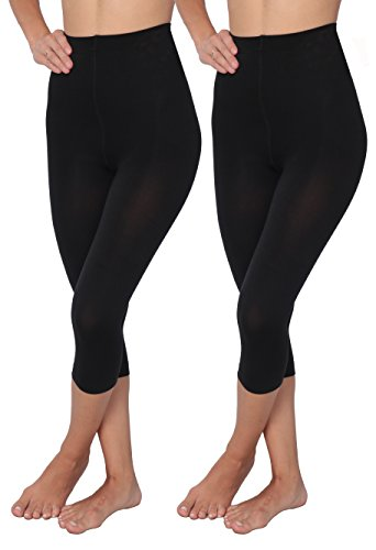 (Hanes 1 & 2 Pack Shaping Slims Waist Capri Black Plus Size (Large, 2 Black))