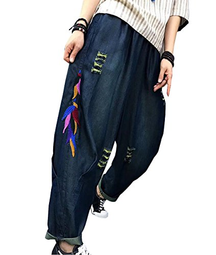 YESNO PU1 Women Casual Cropped Denim Pants Loose Baggy Jeans Embroidered Holed Distressed/Pocket ()