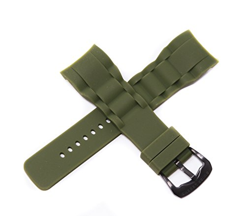 Swiss Legend 29MM Army Green Silicone Watch Strap Stainless Gunmetal Gray Buckle for 47mm Commander Watch
