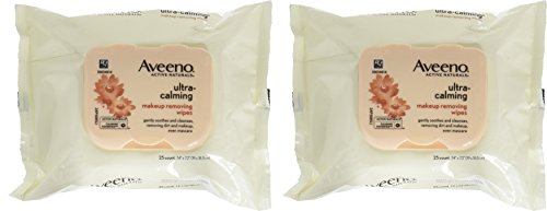 Aveeno Ultra Calming Makeup Removing Wipes, 25 Count (Pack of 2)