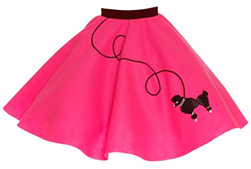 Poodle Skirt for Girls Size Medium 7/8/9 Hot Pink (50s Pink Poodle Girls Costume)