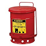 Justrite 09100 Red Galvanized Steel Oily Waste Safety Can with Foot Lever, 6-Gallon Capacity