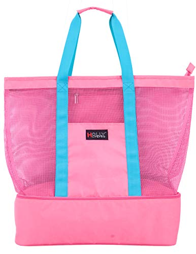 Holly LifePro Mesh Beach Bag,Toy Pool Tote Bag,Light weight Picnic Tote with Zipper Top and Insulated Cooler, Carry All Organizer Bag