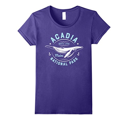 Womens Acadia National Park Maine Vintage T Shirt Whale Watching Small Purple