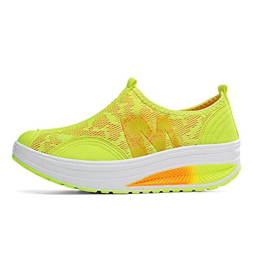 Walking Platform Up Shape Fitness Mesh On Toning Shoes 606 Sneakers Slip Women Yellow EnllerviiD fI6qxZw
