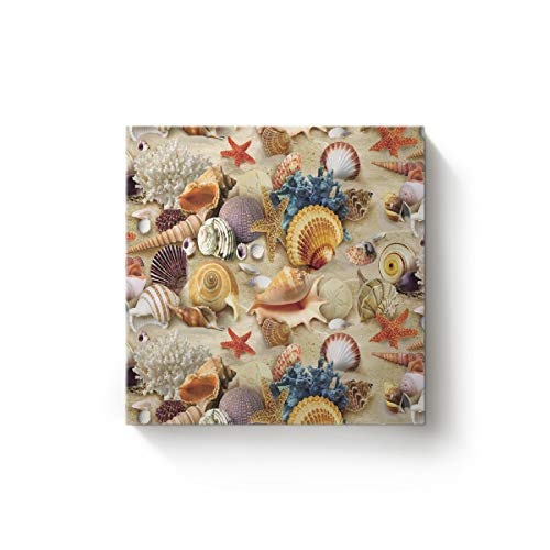 s Wall Art Oil Painting Christmas Office Home Decor,Colorful Beach Scenery of The Shell Starfish Artworks,Stretched by Wooden Frame,Ready to Hang,12 x 12 Inch ()