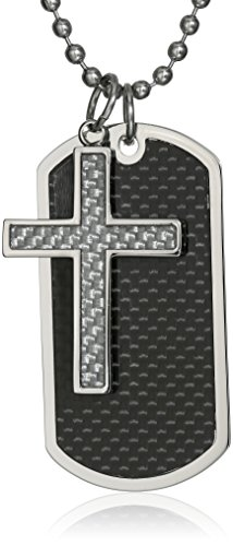 Men's 2 Piece Stainless Steel Carbon Fiber Dog Tag and Cross Pendant Necklace, 22""