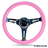 NRG Innovations ST-015CH-PK Classic Wood Grain Wheel (350mm 3 chrome spokes, solid pink painted grip)