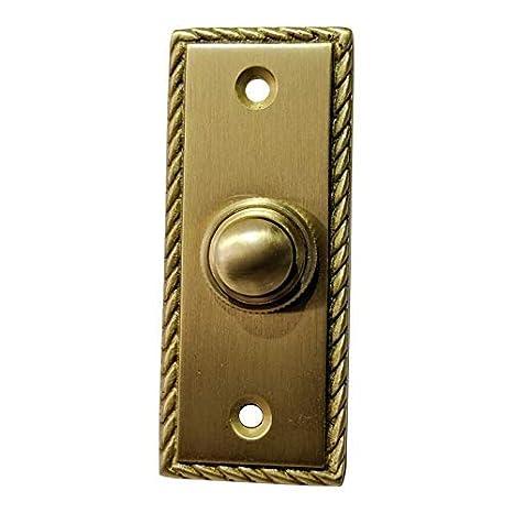 Timbre rectangular de lat/ón georgiano para puerta o timbre o bot/ón de empuje Adonai Hardware